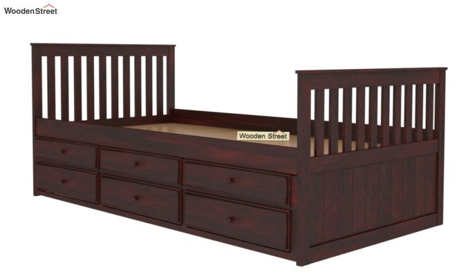 Pear Kids Trundle Bed With Storage (Mahogany Finish)-5