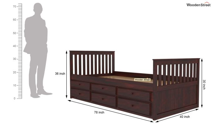 Pear Kids Trundle Bed With Storage (Mahogany Finish)-6