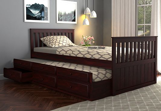 Kids Trundle Bed With Headboard Storage