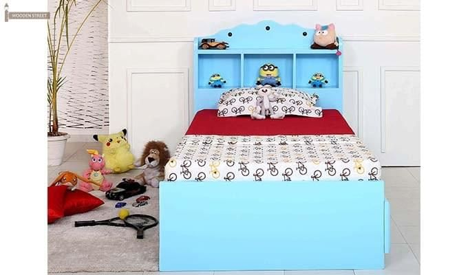 Pearl Kids Bed With Storage (Blue)-1