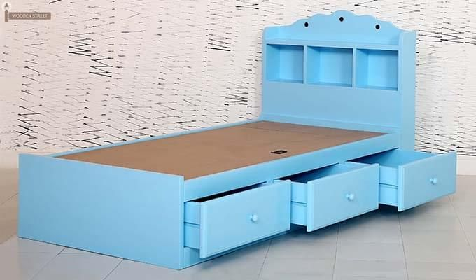Pearl Kids Bed With Storage (Blue)-7