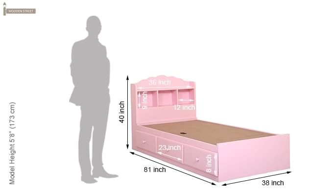 Pearl Kids Bed With Storage (Pink)-8
