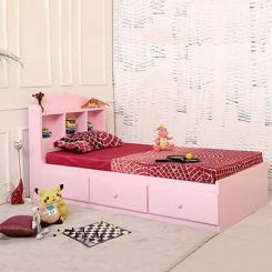 Pearl Kids Bed With Storage (Pink)