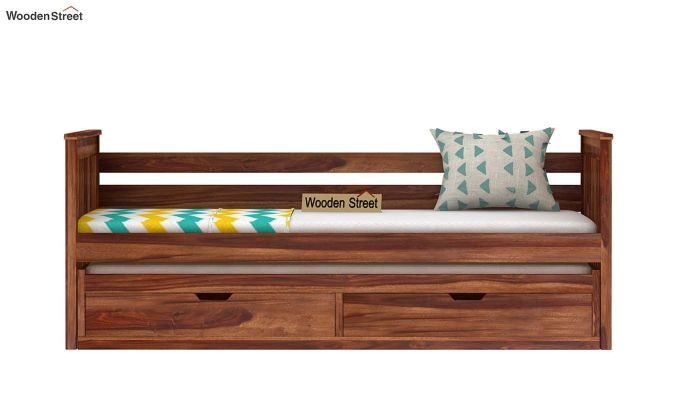 Sierra Kids Trundle Bed With Storage (Teak Finish)-2