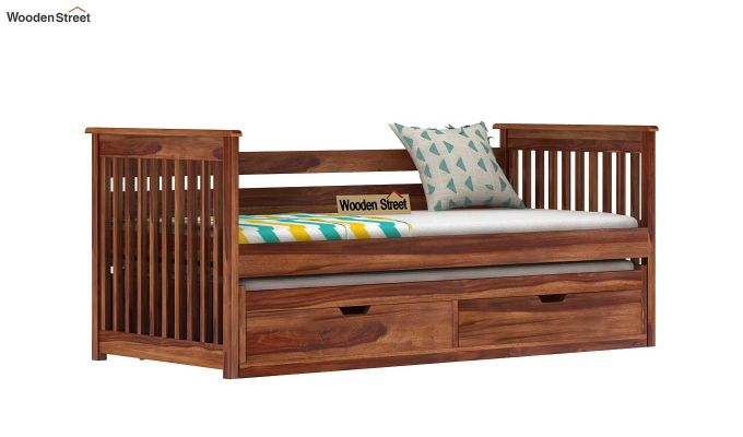Sierra Kids Trundle Bed With Storage (Teak Finish)-3