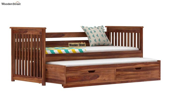 Sierra Kids Trundle Bed With Storage (Teak Finish)-4