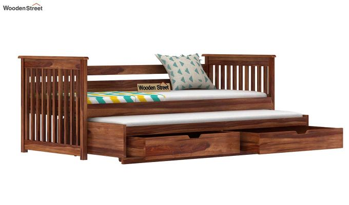 Sierra Kids Trundle Bed With Storage (Teak Finish)-5
