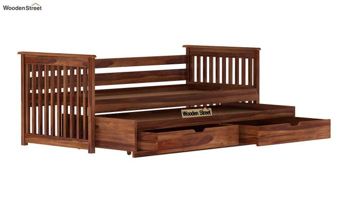 Sierra Kids Trundle Bed With Storage (Teak Finish)-6