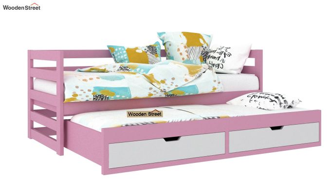 Slumber Kids Trundle Bed With Storage (Pink & White)-2