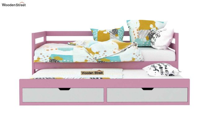 Slumber Kids Trundle Bed With Storage (Pink & White)-3