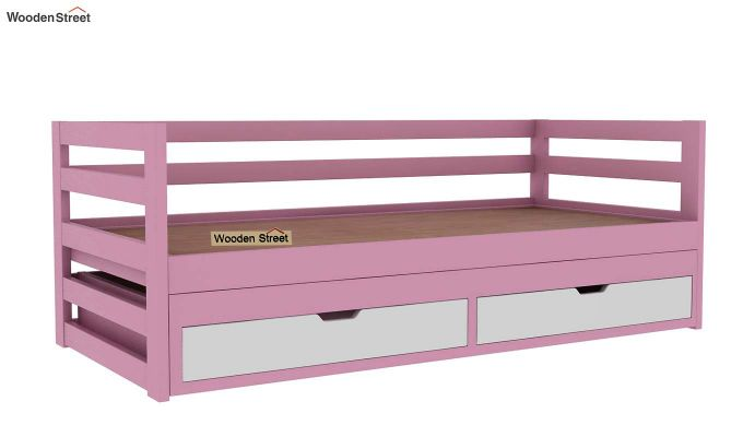 Slumber Kids Trundle Bed With Storage (Pink & White)-4