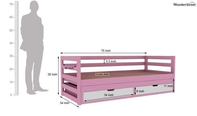 Slumber Kids Trundle Bed With Storage (Pink & White)-5