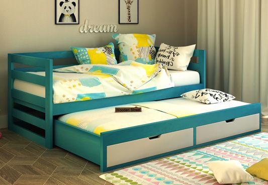 Slumber Kids Trundle Bed With Storage (Teal & White)