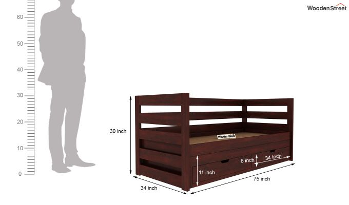 Slumber Kids Trundle Bed With Storage (Mahogany Finish)-8