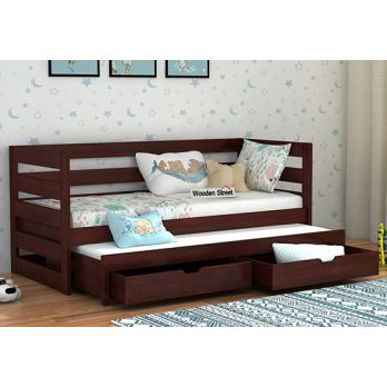 solid wood kids beds with trundle online India