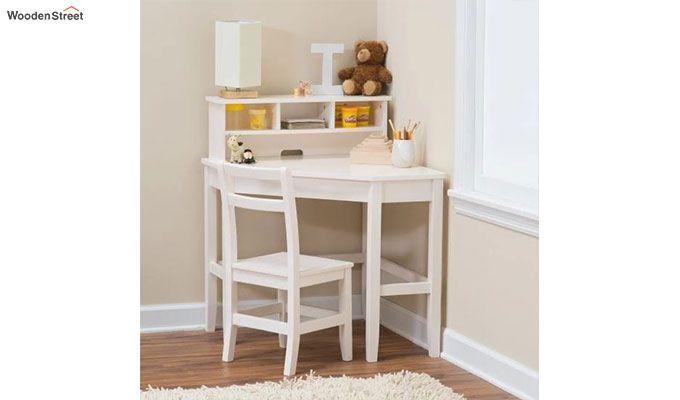 Athena Corner Desk and Reversible Hutch (White Finish)-1