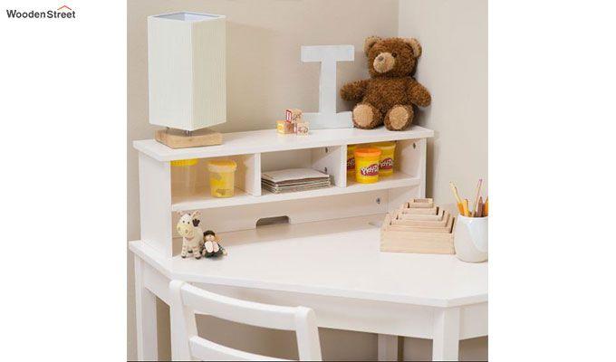 Athena Corner Desk and Reversible Hutch (White Finish)-3