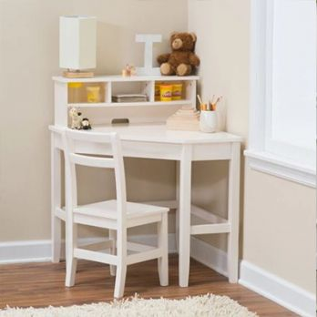 Athena Corner Desk and Reversible Hutch (White Finish)