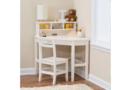 Athena Corner Desk and Reversible Hutch (White Finish)