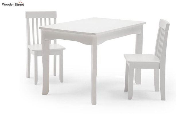Daffy Kids Table With Chair Set (White Finish)-3