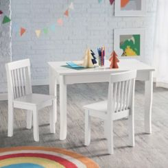 Daffy Kids Table With Chair Set (White Finish)