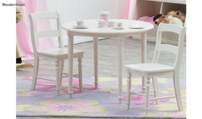 Dexter Kids Round Table with 2 chair set (White Finish)-1