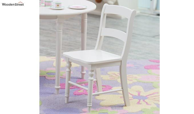 Dexter Kids Round Table with 2 chair set (White Finish)-5