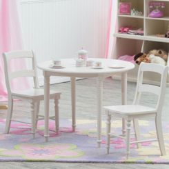 Dexter Kids Round Table with 2 chair set (White Finish)
