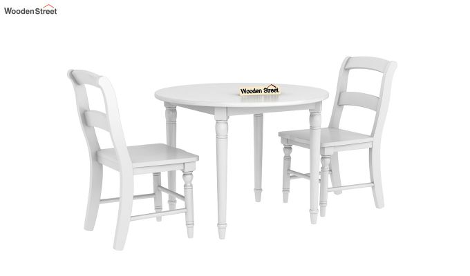 Dexter Kids Round Table with 2 chair set (White Finish)-2