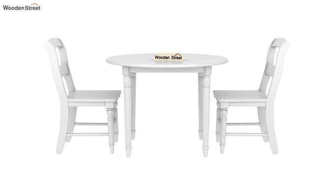 Dexter Kids Round Table with 2 chair set (White Finish)-3