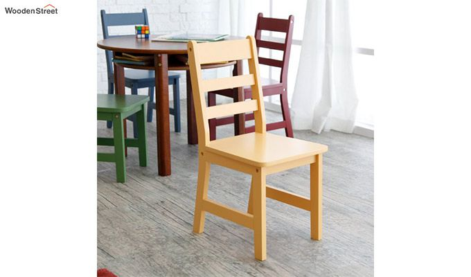 Dora Round Kids Table With 4 Chairs (Walnut Finish)-2
