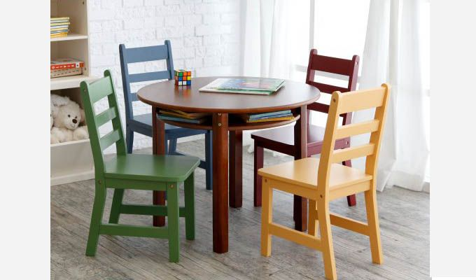 Dora Round Kids Table With 4 Chairs (Walnut Finish)-1