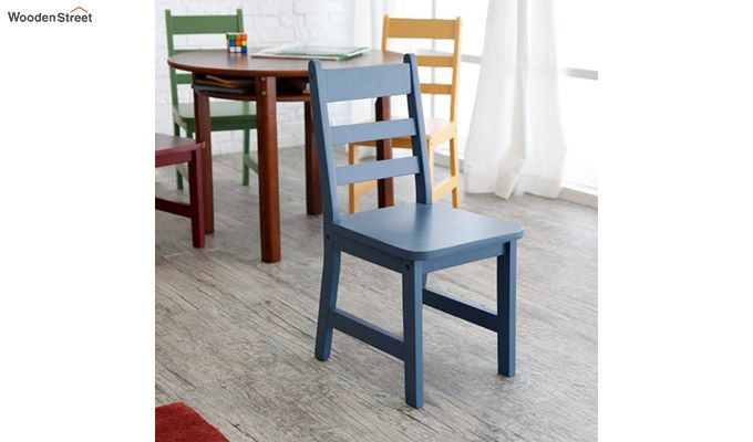 Dora Round Kids Table With 4 Chairs (Walnut Finish)-4