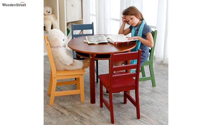 Dora Round Kids Table With 4 Chairs (Walnut Finish)-8