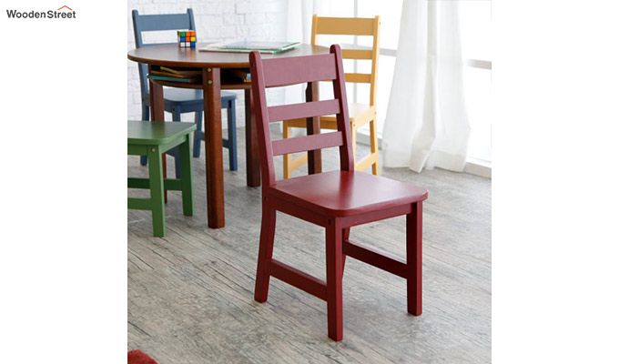 Dora Round Kids Table With 4 Chairs (Walnut Finish)-5