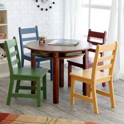 Dora Round Kids Table With 4 Chairs (Walnut Finish)
