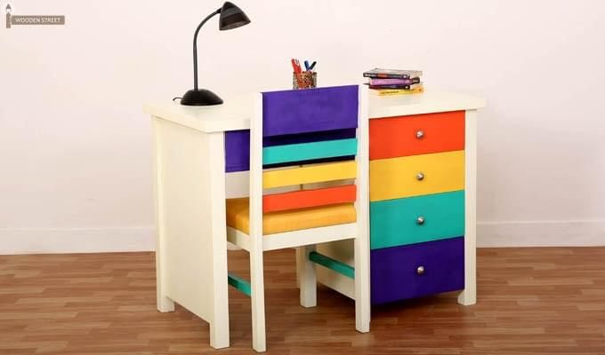 Buy Pixie Kids Study Table With Drawers White Finish