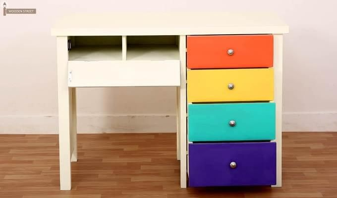 Pixie Kids Study Table With Drawers (White Finish)-3