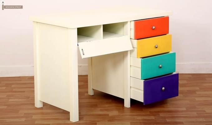 Pixie Kids Study Table With Drawers (White Finish)-4