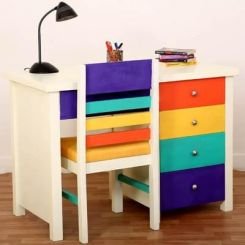 Pixie Kids Study Table With Drawers (White Finish)