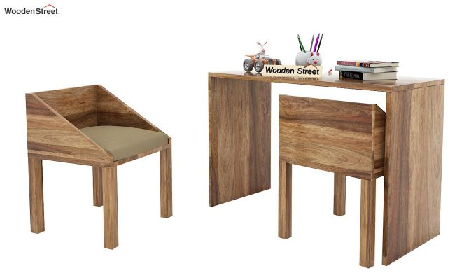 Scoop Kids Study Table Set (Natural Finish)-2