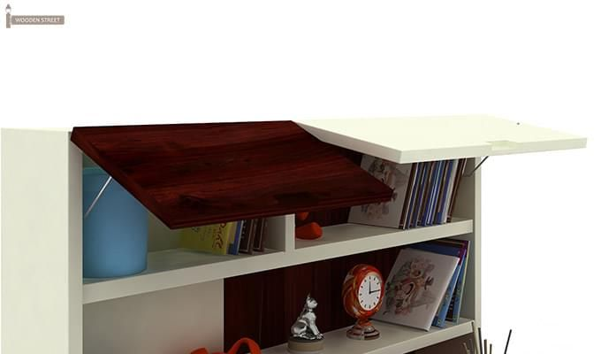 Tedd Kids Study Table With Storage (Mahogany Finish)-4