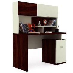 Tedd Kids Study Table With Storage (Mahogany Finish)