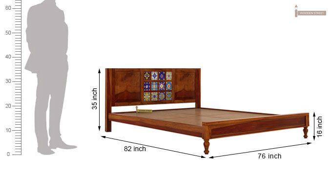 Boho Bed Without Storage (King Size, Honey Finish)-7