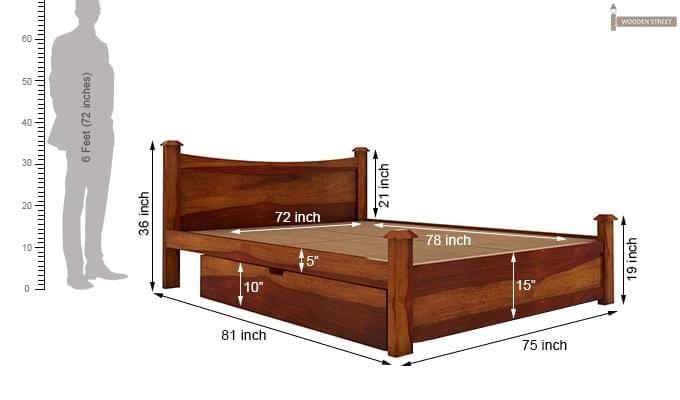 Christina Bed With Storage (King Size, Honey Finish)-9