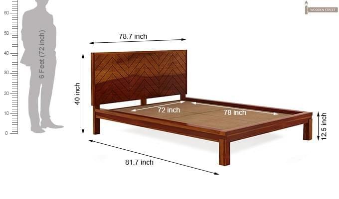 Neeson Bed Without Storage (King Size, Honey Finish)-10