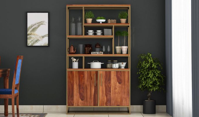 Atris Kitchen Cabinet (Teak Finish)-2