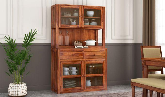 Darius Kitchen Cabinet (Honey Finish)-1