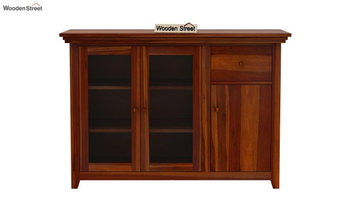Earnville Kitchen Cabinet (Honey Finish)-3