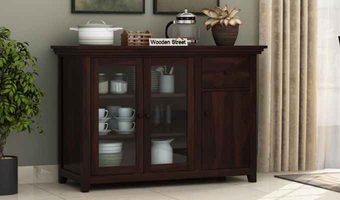 Earnville Kitchen Cabinet (Walnut Finish)-1